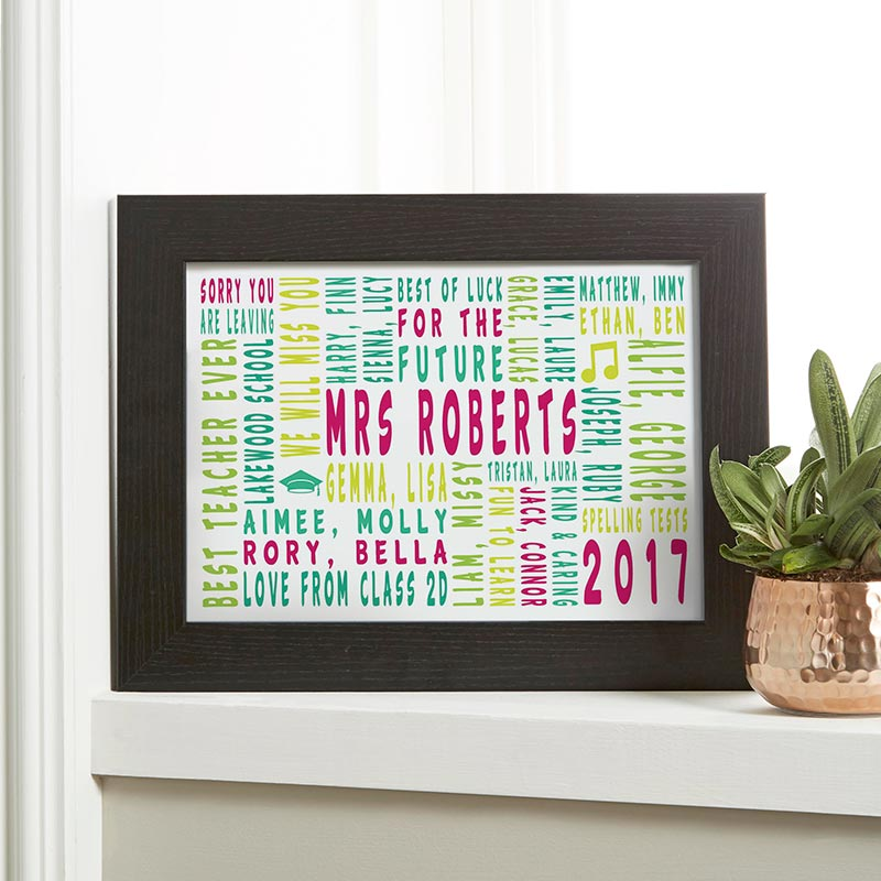 teacher present leaving end of term personalized print