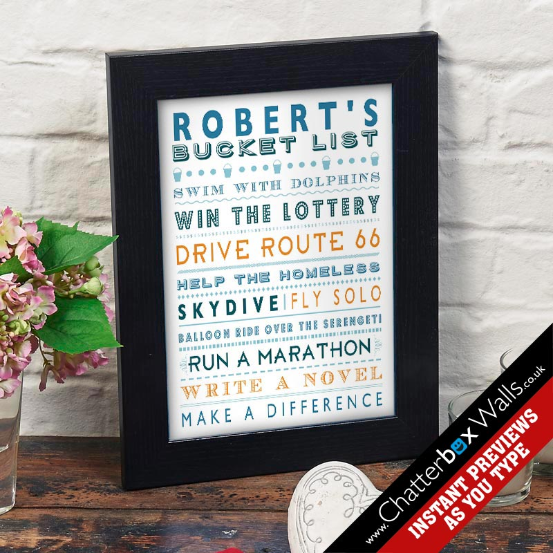 personalized bucket list framed print