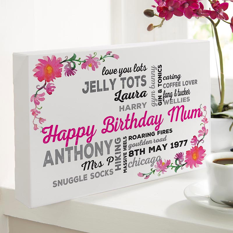 Personalized Typography birthday gift for mum custom Canvas Floral Background