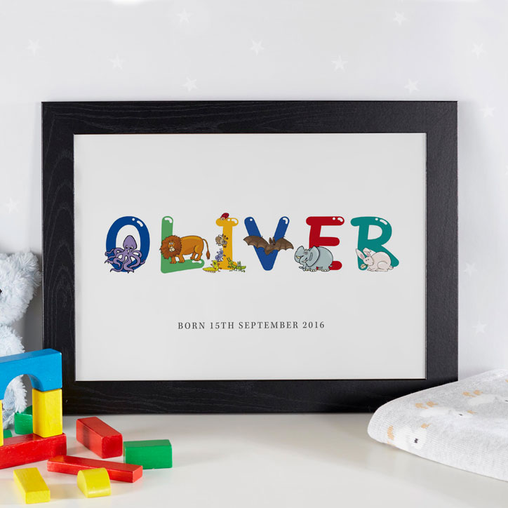 personalized baby name art framed gift