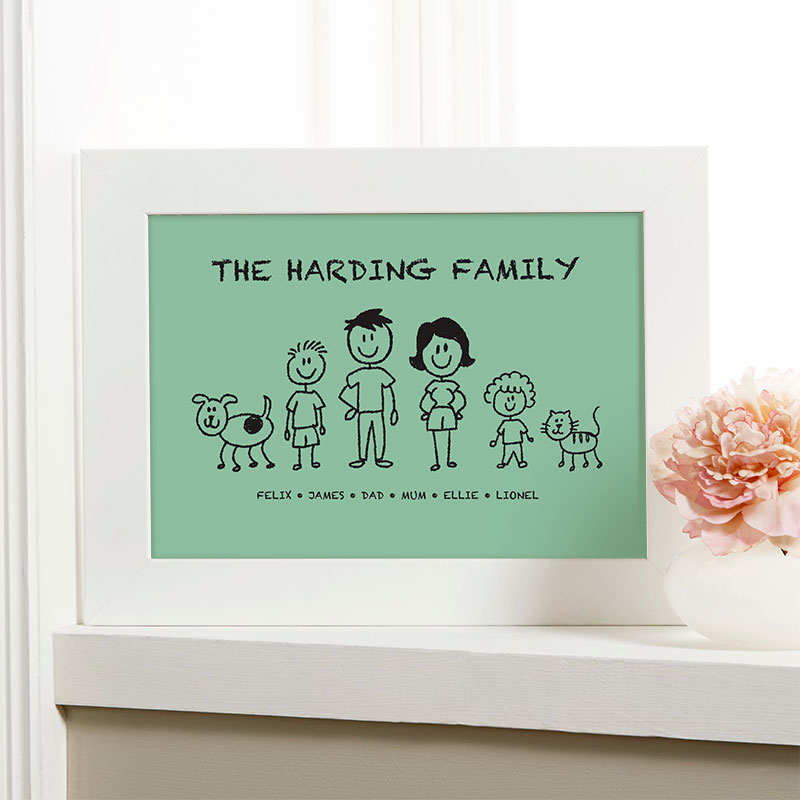 personalized christmas gift family characters picture