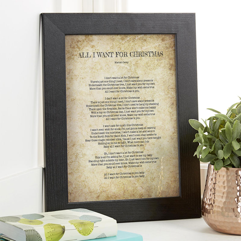 personalized christmas gifts create your own song lyrics as wall art - I Dont Want Alot For Christmas Lyrics