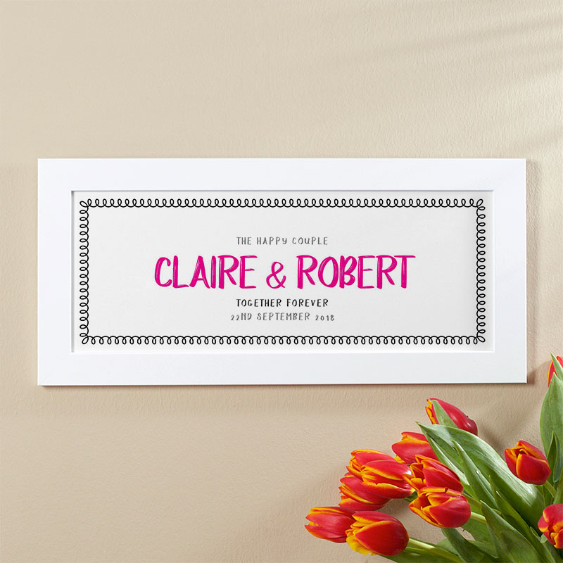 anniversary gift for couples names on wall