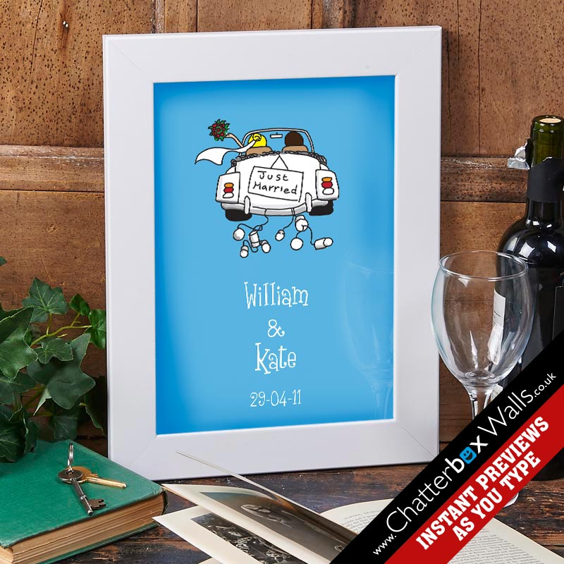 just married personalized print