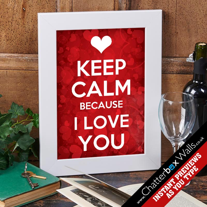 keep calm i love you personalized print