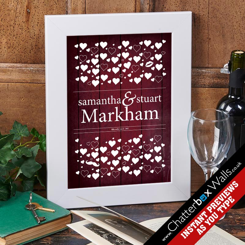 Personalized Love Hearts Wedding Date Framed Print