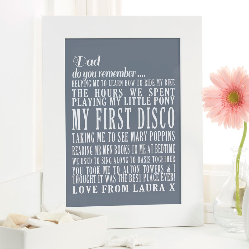 personalized fathers day word print present special memories