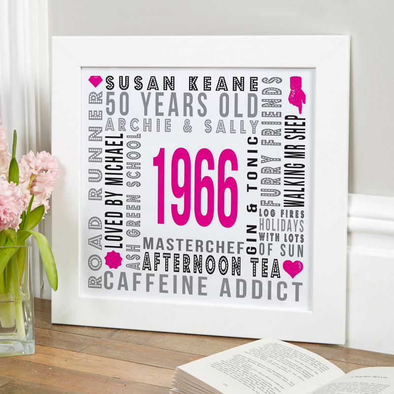 personalized birth year 50th birthday gift print