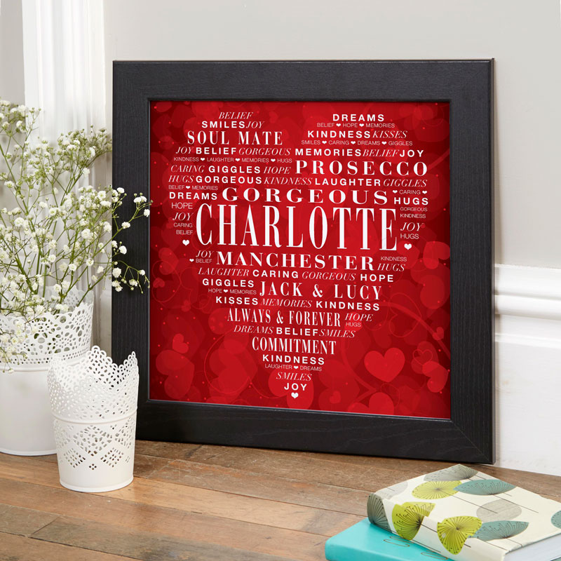 Personalized typographic prints posters canvases word art gifts for valentines wife girlfriend husband boyfriend
