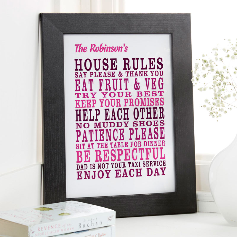 house & family rules framed print