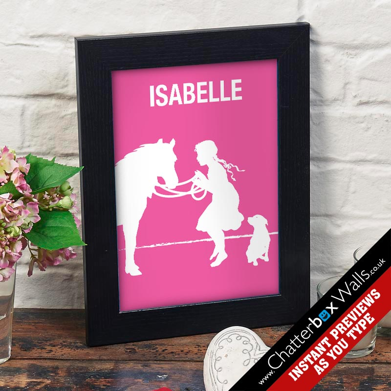personalized girls room print canvas pony