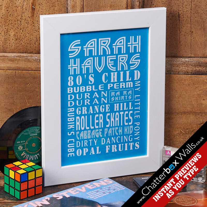 personalized framed birthday print blue