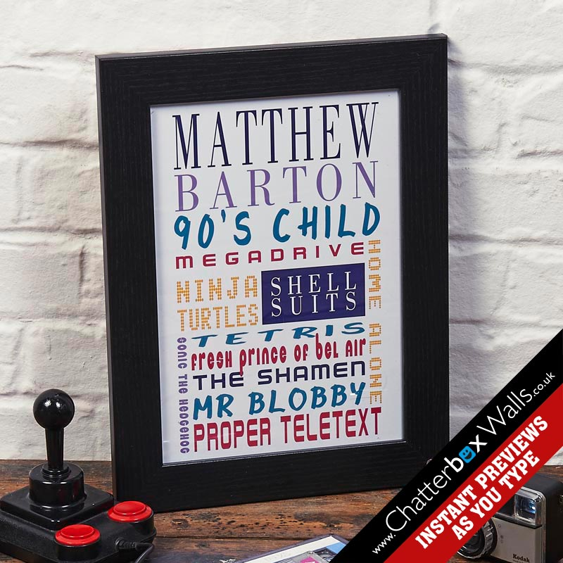 personalized birthday present 90's kids typographic art print