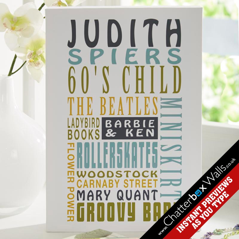 60s child personalized word art present birthday gift