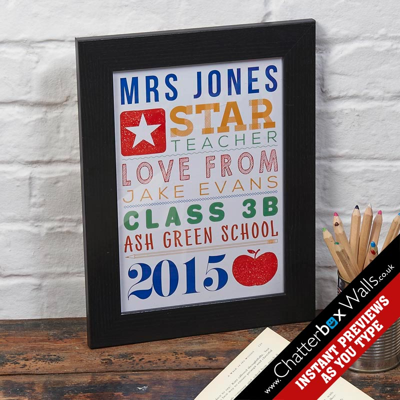 personalized teacher gift personalized word art