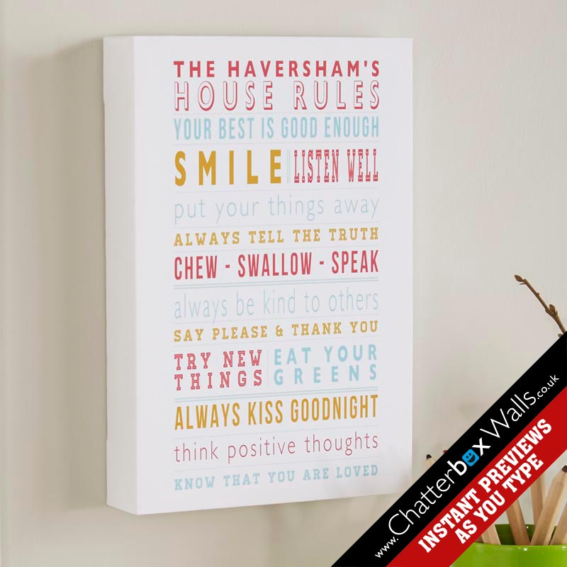 personalized family house gifts rules framed print aqua