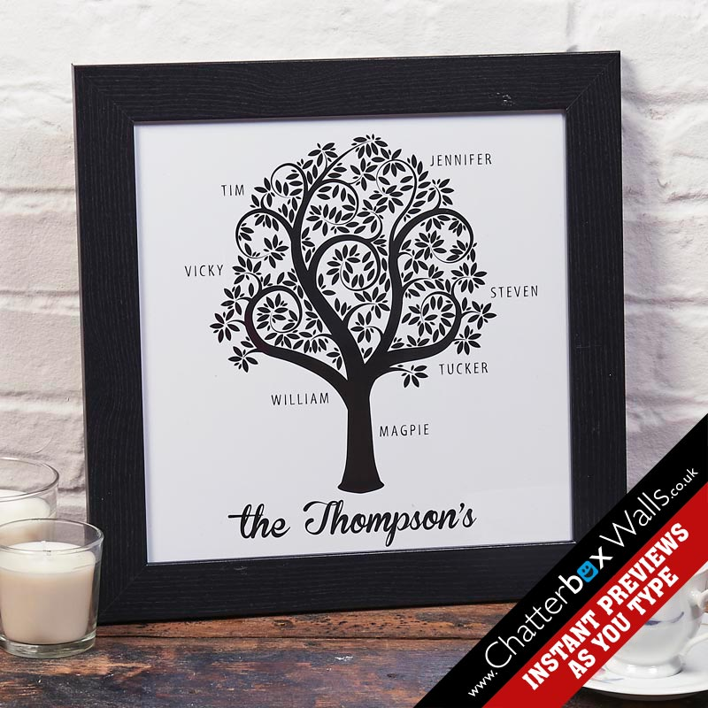 Personalized family tree print or canvas chatterbox walls for Family tree gifts personalized