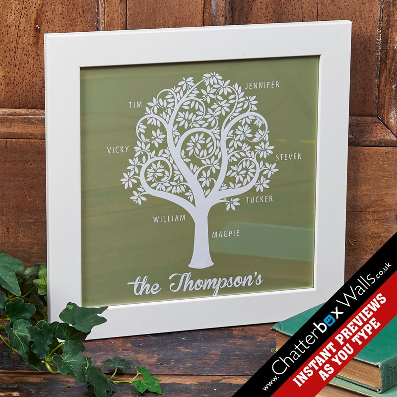 personalized present family tree art words
