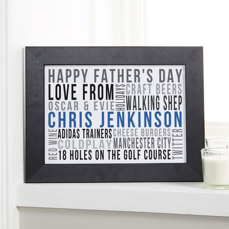 unique gift for fathers day framed word print