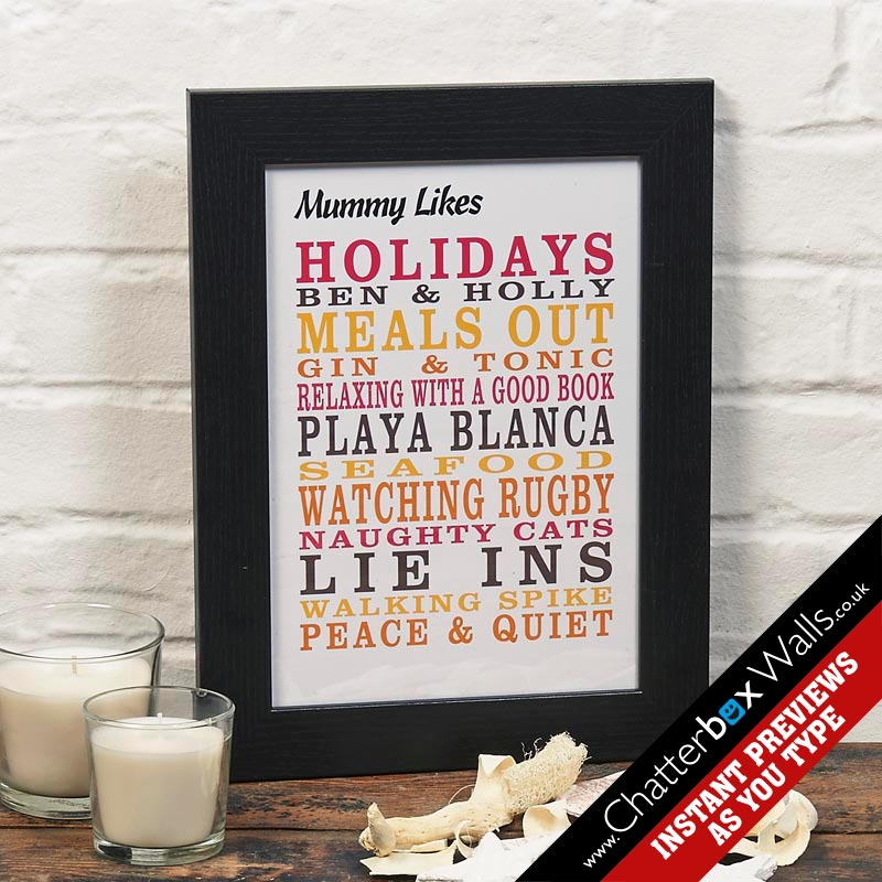 Personalized typographic likes word art prints posters canvases