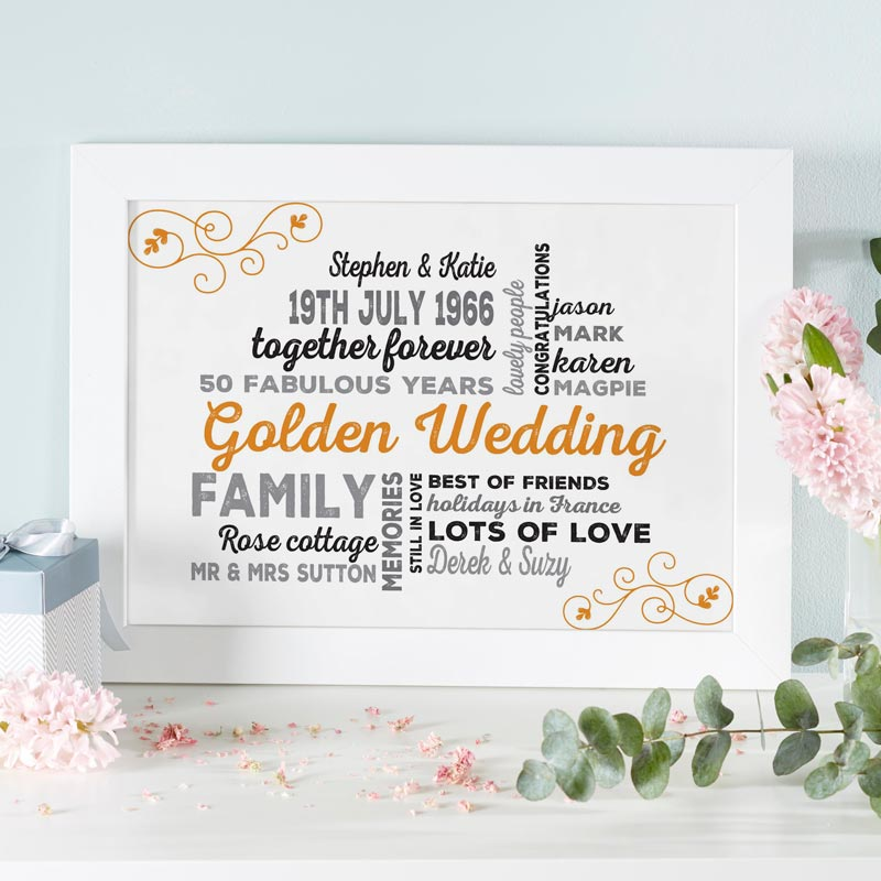 unique golden wedding anniversary gift framed print