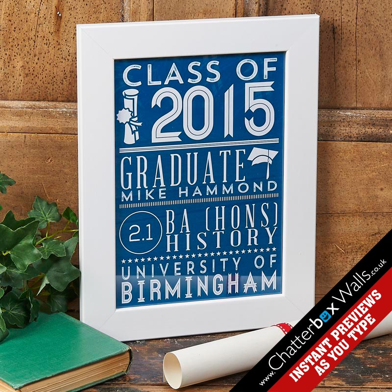 personalized graduation gift class of print