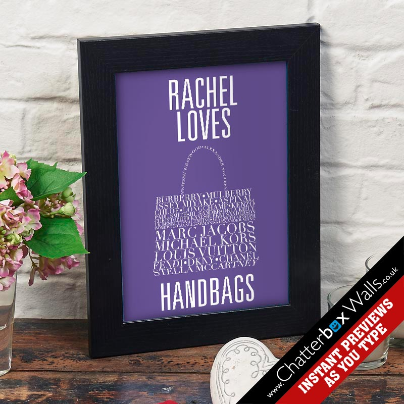 personalized handbag typographic word art gift prints