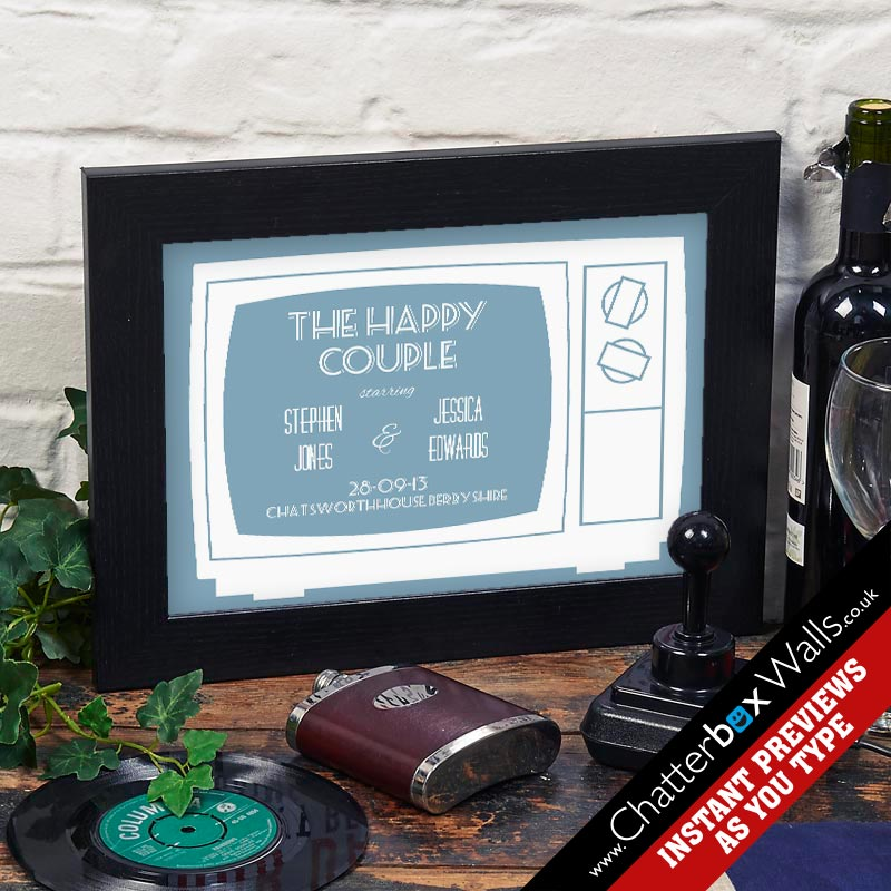 Personalized Wedding & Anniversary gift typographic word art happy couple TV