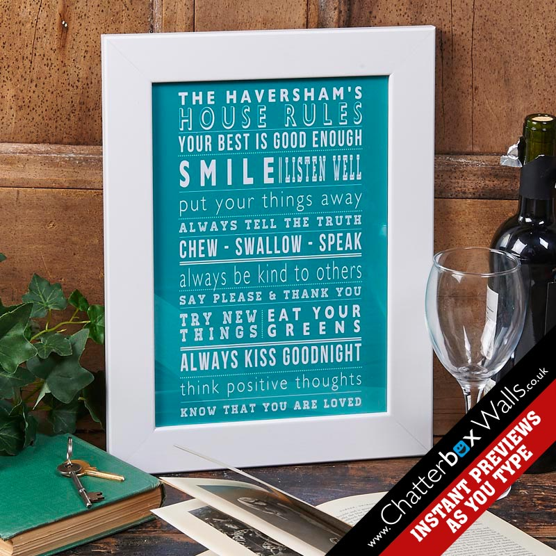 Personalized typographic House family Rules Prints posters canvases
