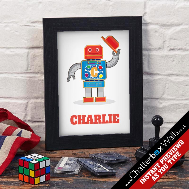 Personalized Robot name print for kids rooms