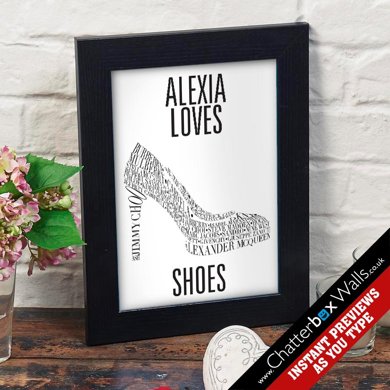 typographic word art print shoes high heels canvas