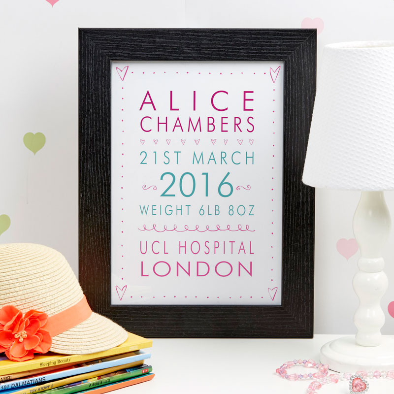 custom new baby name print gift