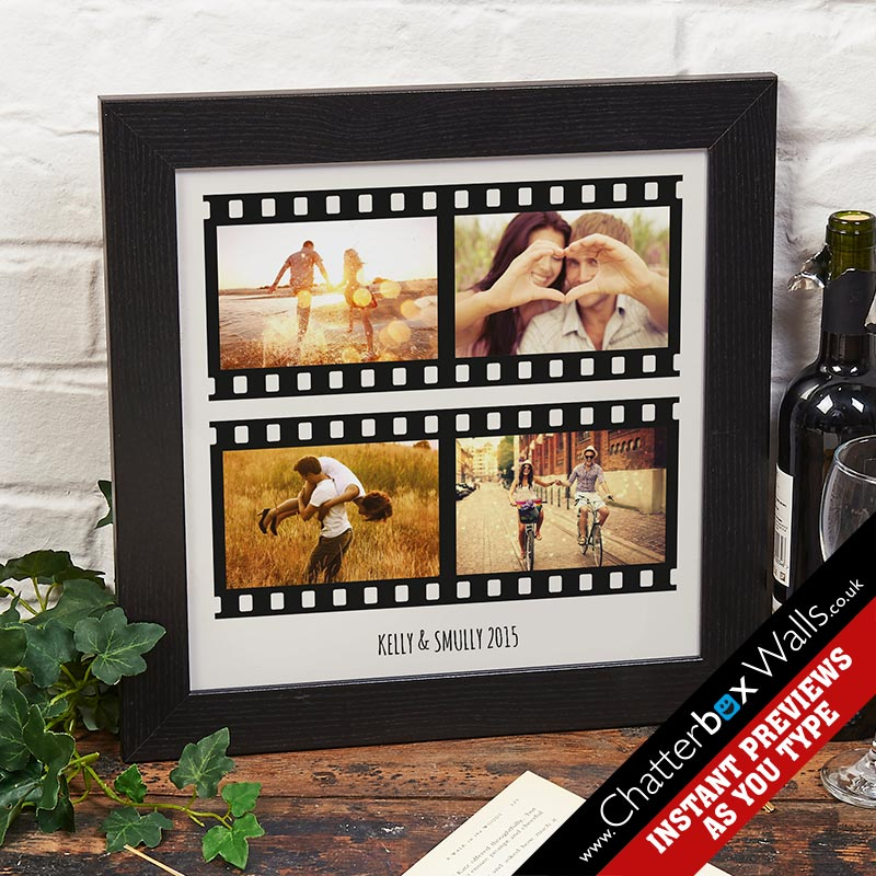 bespoke your words photos film strip canvas print