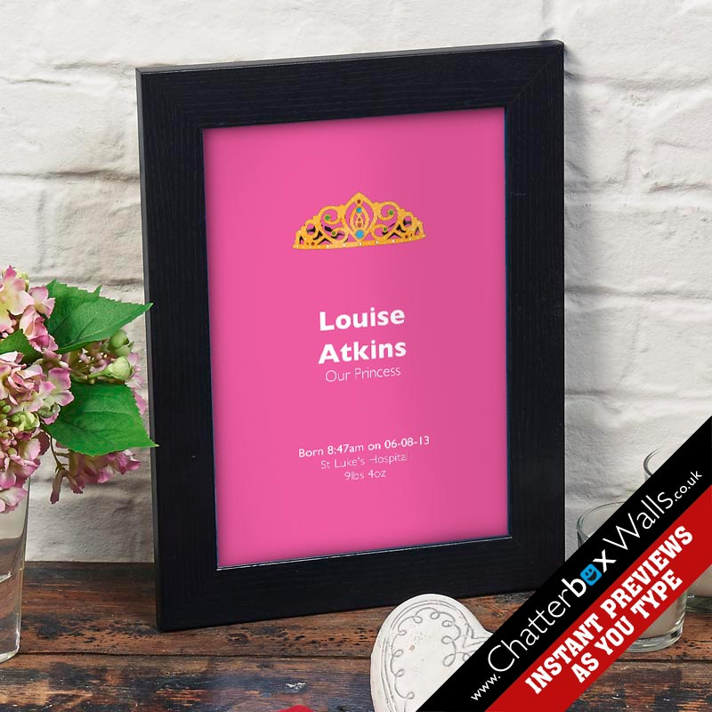 Princess birth date print gift new born baby girl
