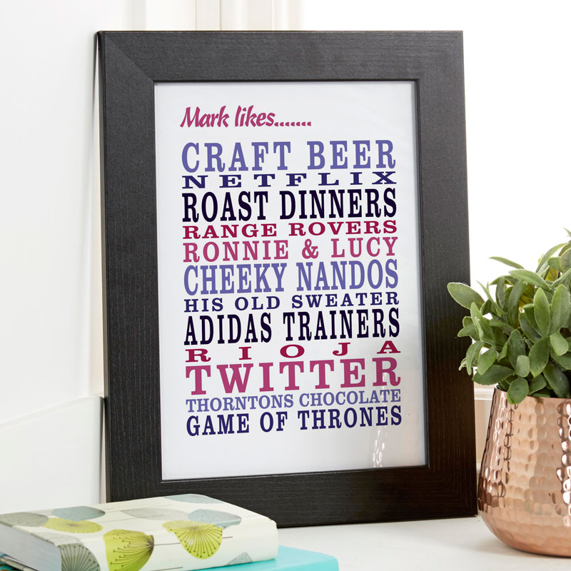 personalized text word print