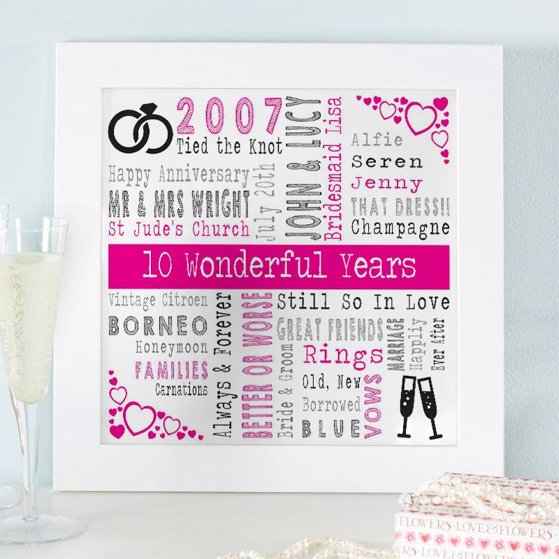 word art for wedding anniversary gift
