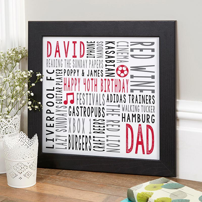 personalized print 40th birthday gift idea