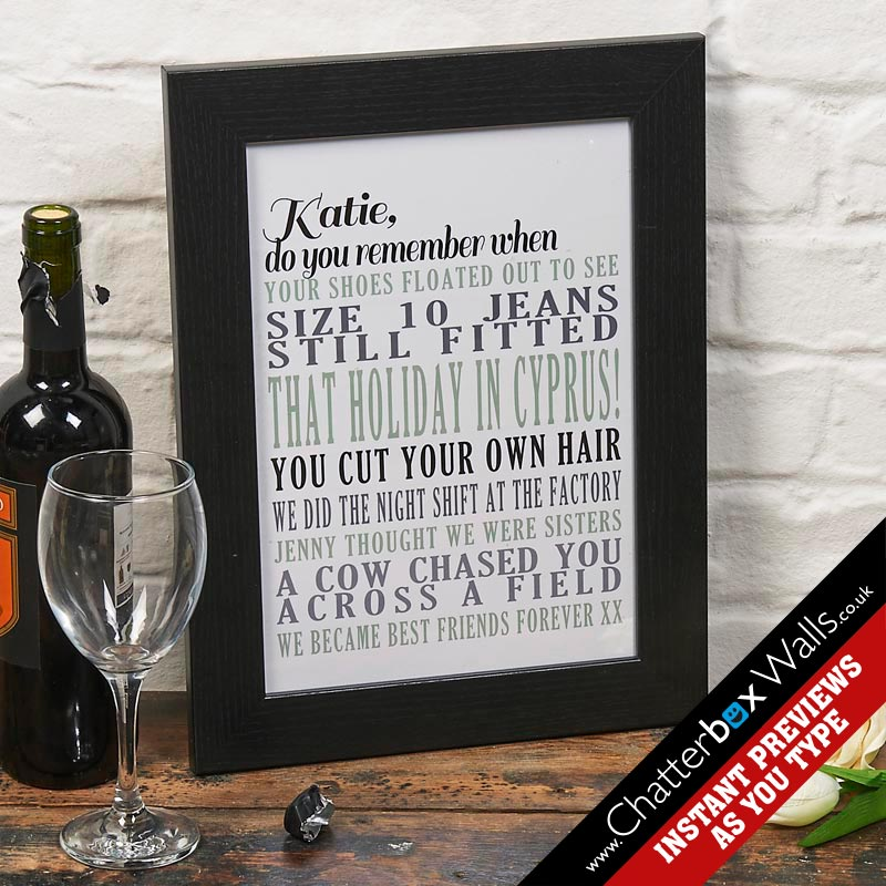 personalized memories print typographic art