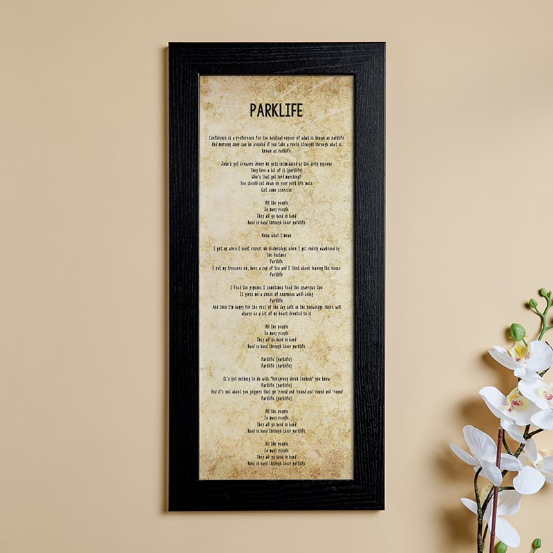 personalized song lyrics wall art picture print