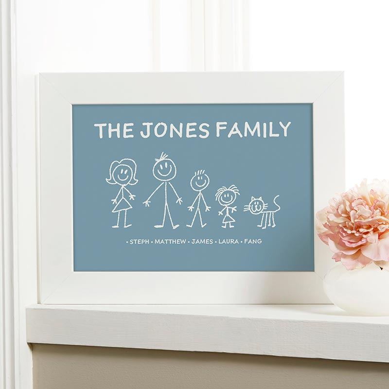 Personalized stick family characters print