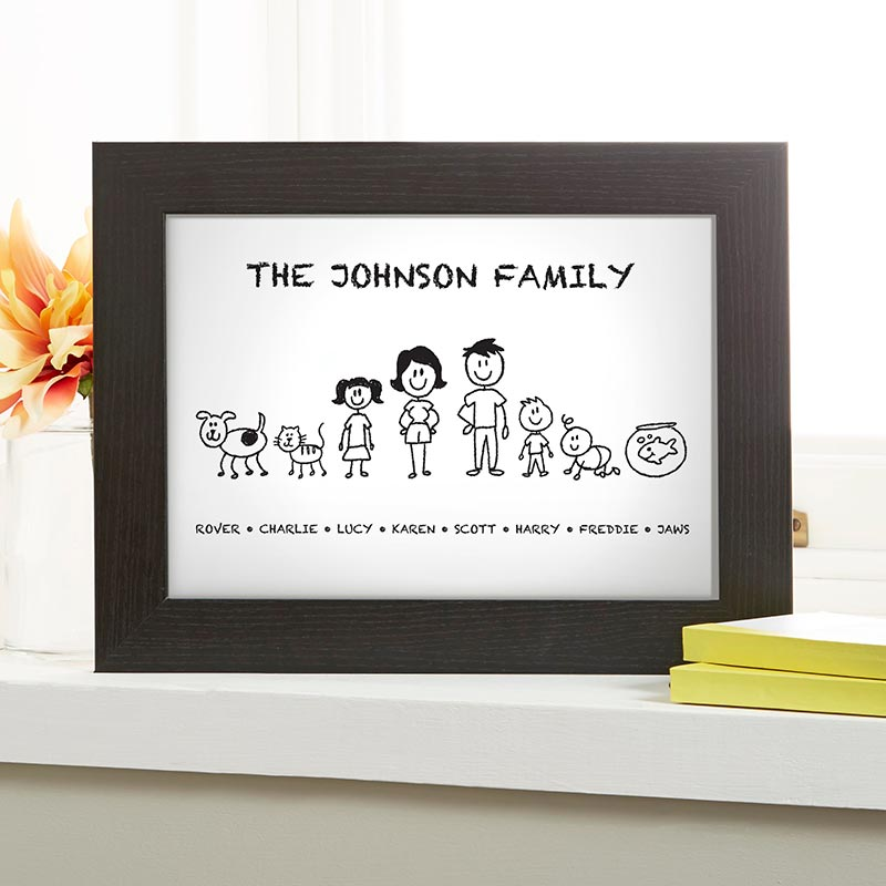 family drawing personalized print
