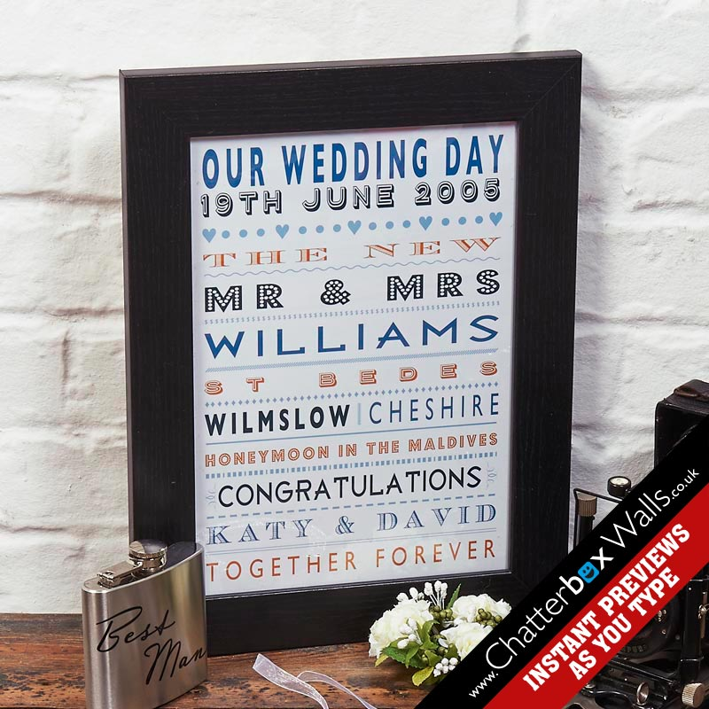 personalized wedding anniversary present gift typographic art