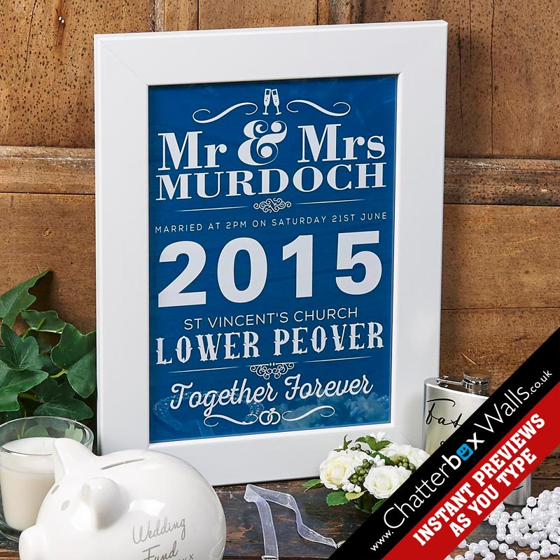 Personalized typographic dates Wedding Anniversary Prints Posters Canvas
