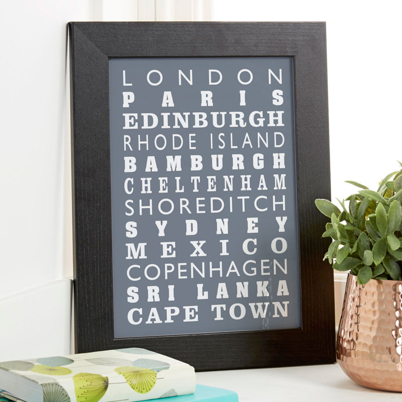 personalized print travels framed