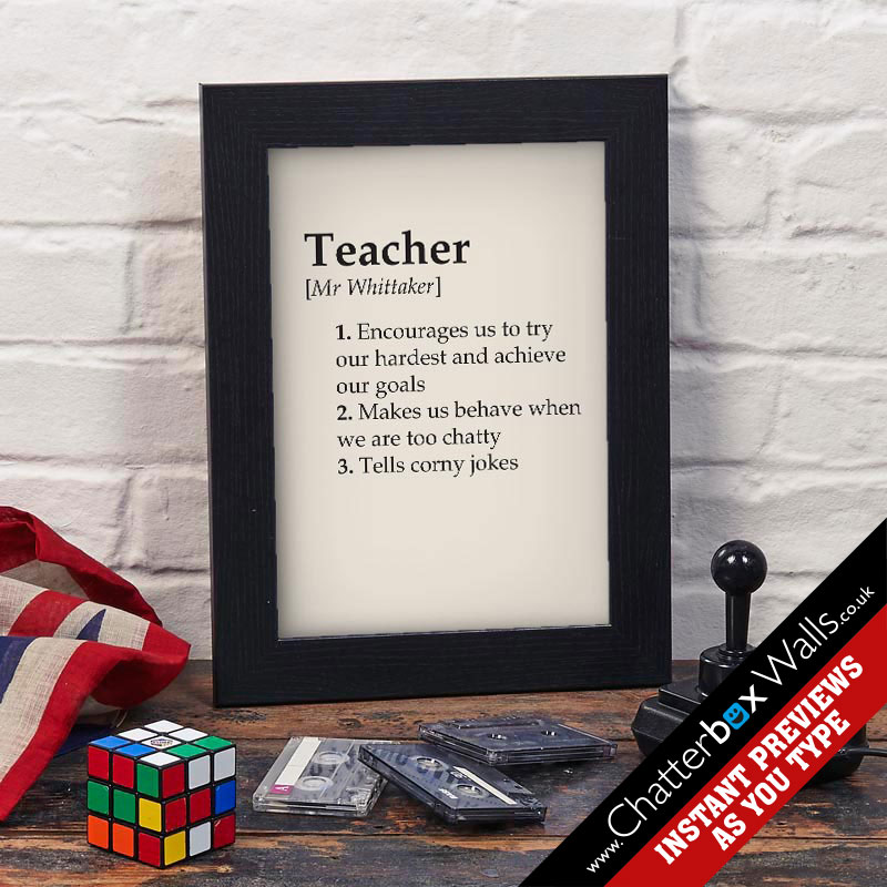 personalized gifts for teacher dictionary definition framed print