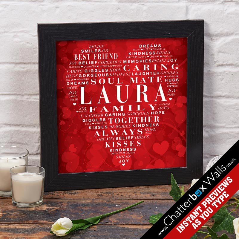 personalized valentine heart print