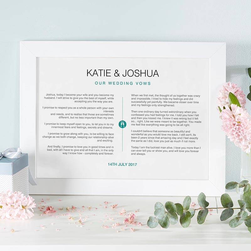 personalized print wedding vows