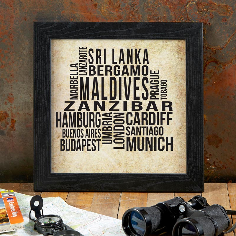 personalized present word art framed print