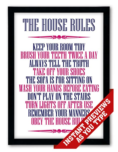 Personalized Family U0026 House Rules Poster Print
